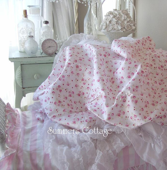 KING SHEET SET SHABBY FRENCH PINK WINE ROSES CHIC COTTON ROMANTIC ...