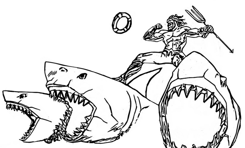 Coloring Page Fortnite Chapter 2 Season 3 Aquaman Sharks 3
