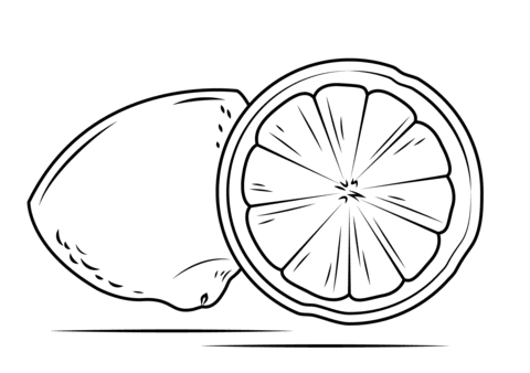 Dibujo De Sección De Un Limón Cortado Para Colorear Dibujos Para