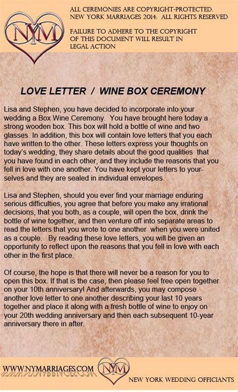 Wine Box Love Letter Ceremony, Sample Wedding Ceremonies