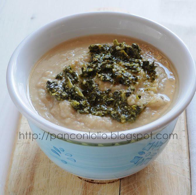zuppa di fagioli e pesto di cavolo nero