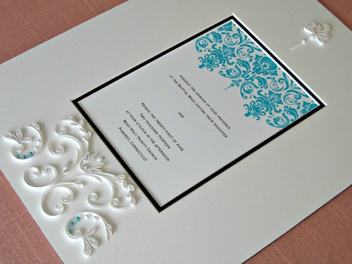 Quilled Wedding Invitation Damask Style