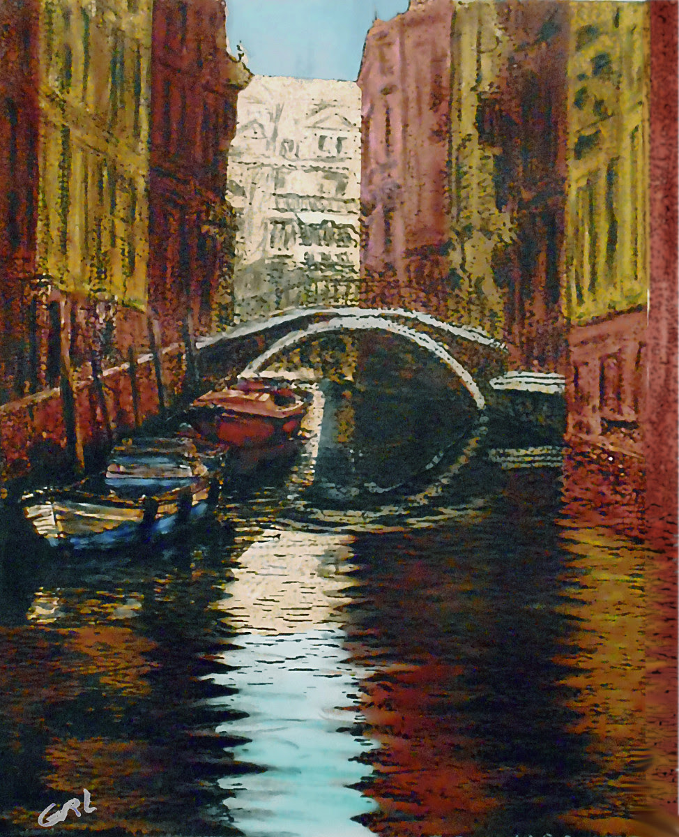 Venice Canal 3 Original Multimedia Painting Fine Art. $360, 12.5x15; $20 to $30, medium-size prints, free downloads. A quiet canal in Venice, based on my own original black and white photos, taken back in the 1950's. Traditional modern acrylic oil paintings. GrlFineArt art fineart painting, room decor, paintings, prints, landscapes, seascapes, boats, figures...