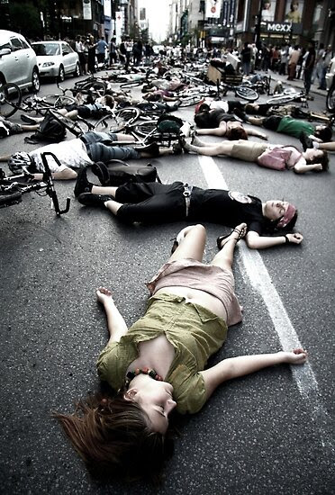 Street Photography: Montreal Die-In by KreddibleTrout