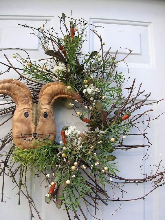 Easter, Spring Primitive Bunny Rabbit door Wreath