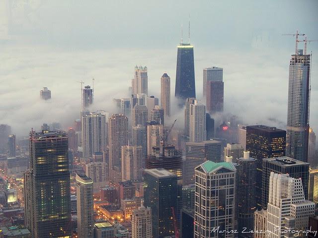 Chicago fog in sunset