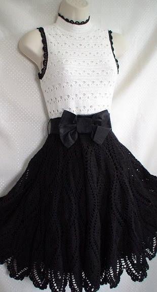 Black-and-white crochet dress