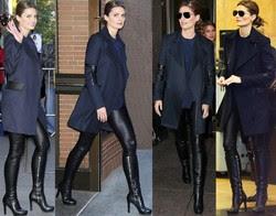 Stana Katic Pantalones De Cuero Con Botas