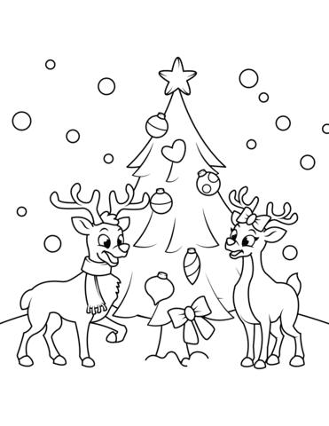 Dibujo De Renos Cerca Del Arbol De Navidad Para Colorear Dibujos
