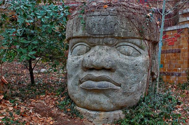 Colosal cabeza de piedra de los olmecas