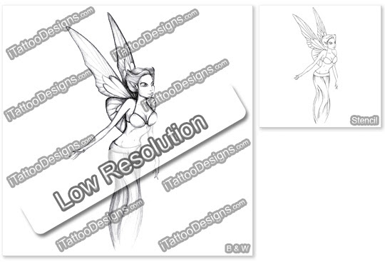 Itattoodesignscom Black And White Fairy Tattoo