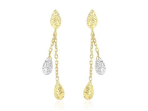 Puffed Teardrop Diamond Cut Dangling Earrings in 14k Two