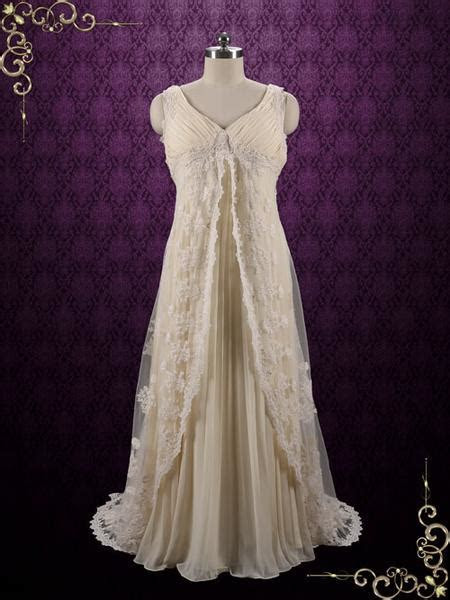 Boho Style Lace Wedding Dress with Empire Waist   Arisa ? ieie