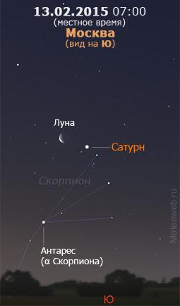 Убывающая Луна и Сатурн на утреннем небе Москвы 13 февраля 2015 г.