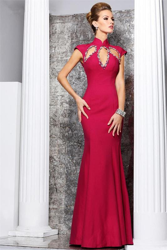 Red evening dress formal gown