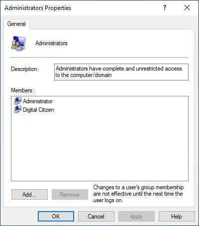 Grupo de administradores en Windows 10