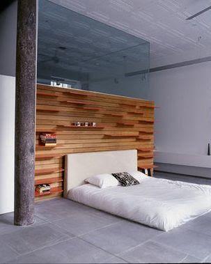 cabecero cama madera estantería