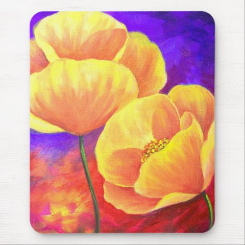 Yellow Poppy Flower Painting Art mousepad