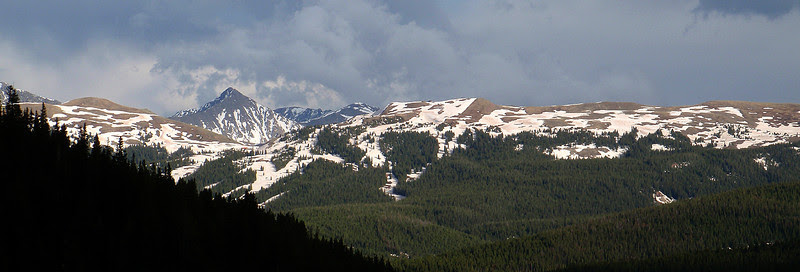13,950-foot Pacific Peak touches the clouds.  Viewing east from the summit of Vail Pass.