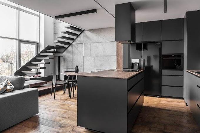 Διαμέρισμα γεμάτο από γκρι, μαύρο και ξύλο