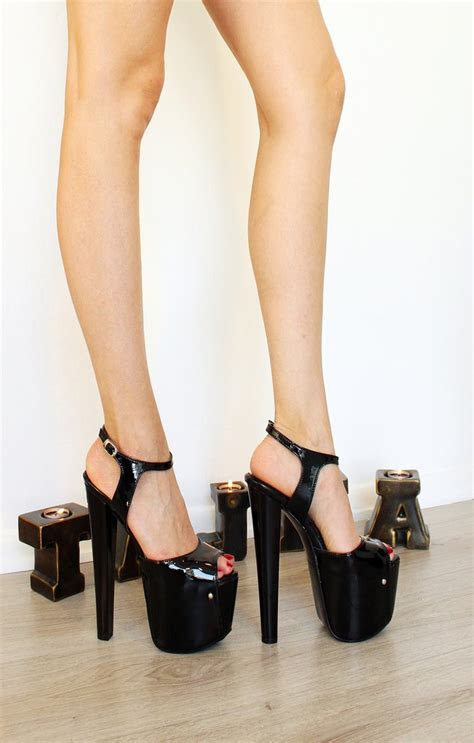 black patent leather peep toe ankle strap shoes tajna club