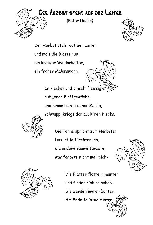 Kurze Gedichte Herbst Kinder Bita Hesbani