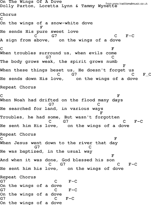 On The Wings Of A Dove Lyrics And Chords