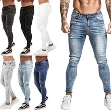 Skinny Jeans Men Non Ripped Stretch Denim Pants