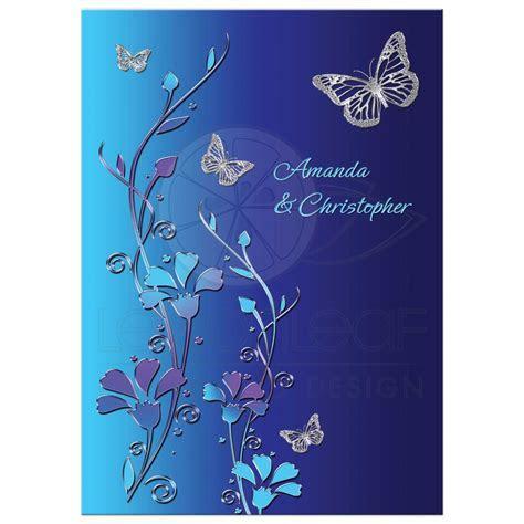Wedding Invitation   Royal Blue, Turquoise, Mauve Flowers