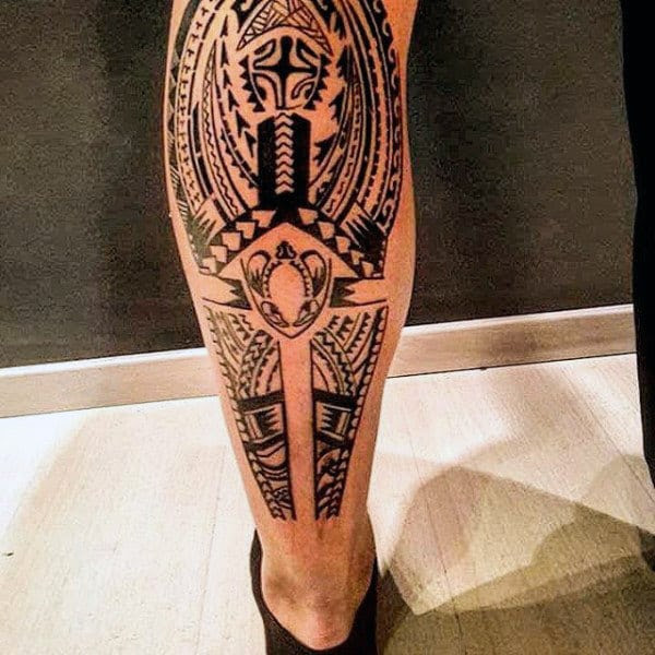 60 Tribal Leg Tattoos For Men Cool Cultural Design Ideas