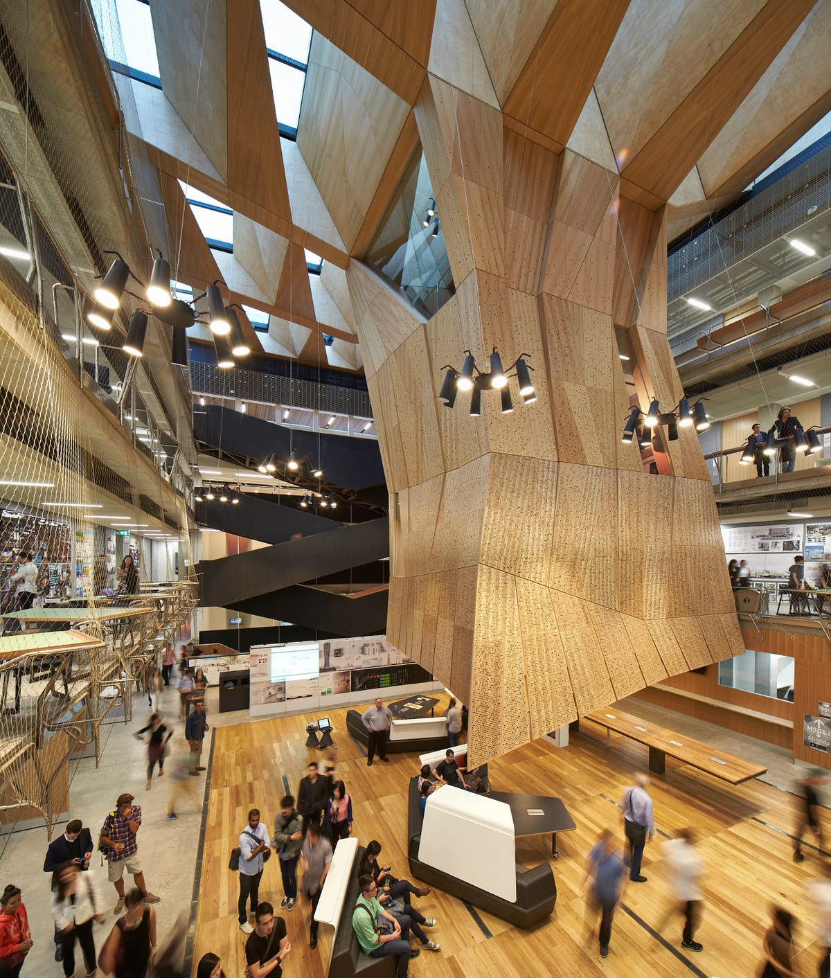 Melbourne's School of Design at The University of Melbourne features an incredible tree-like structure in the main atrium of the building.