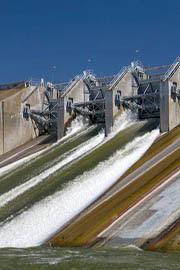Spillway of the C.J. Strike Dam on the Snake River near Grand View, Idaho, USA.