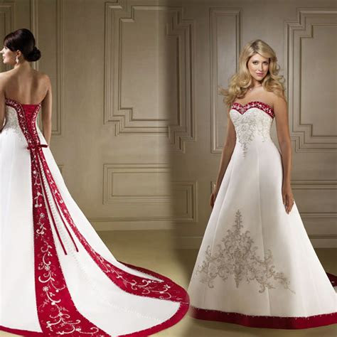 robe de mariee blancrouge en satin taille
