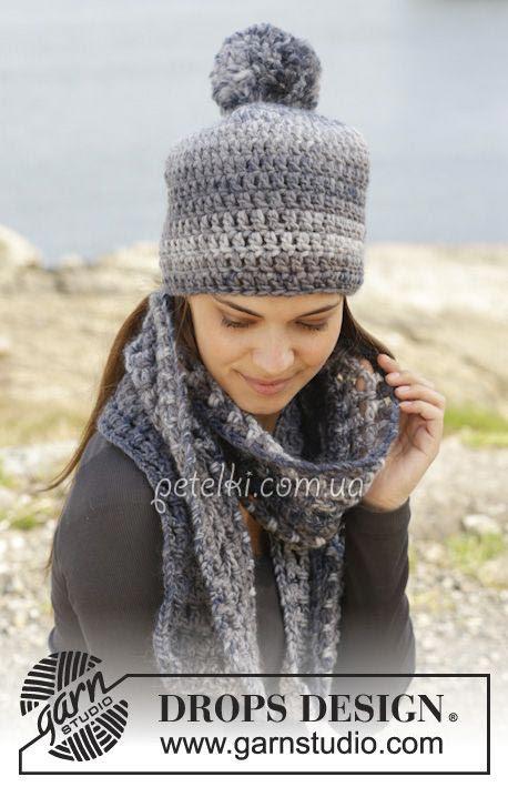 Sombreros y bufandas de punto.  La descripción del esquema de tejer