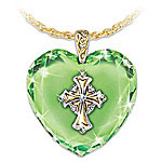 Engraved Irish Blessings Crystal Pendant With Celtic Cross