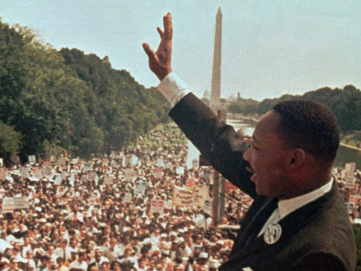 "After marching through downtown Washington, D.C., participants gathered at the Lincoln Memorial to hear King's famous ""I Have A Dream"" Speech."
