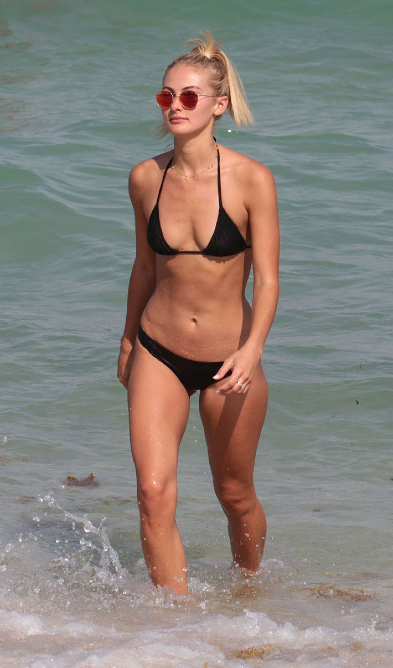 Selena Weber in Black Tiny Bikini in Miami Beach