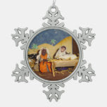 Jesus Mary and Joseph in stable nativity christmas Snowflake Pewter Christmas Ornament