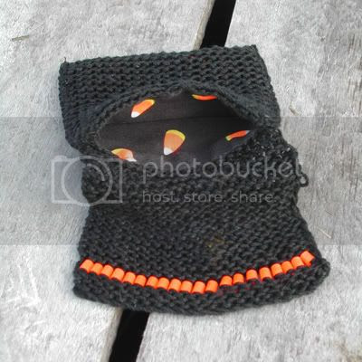 Candy Corn knitted jewelry pouch