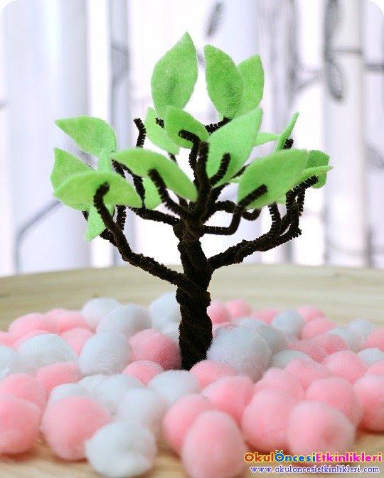 Ponponlarla Ilkbahar Ağacı Yapalım Okul öncesi Etkinlikleri