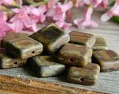 Square Tile Beads Czech Glass Beads Opaque Brick Red with heavy PICASSO Matt Finish 12mm (16pcs) - BeadsandmorebyYashma