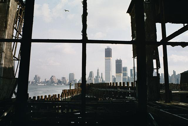 Lower Manhattan, New York, view east from abandoned pier, Jersey City, New Jersey. Photo by Camilo J. Vergara, 1970. //hdl.loc.gov/loc.pnp/vrg.00447