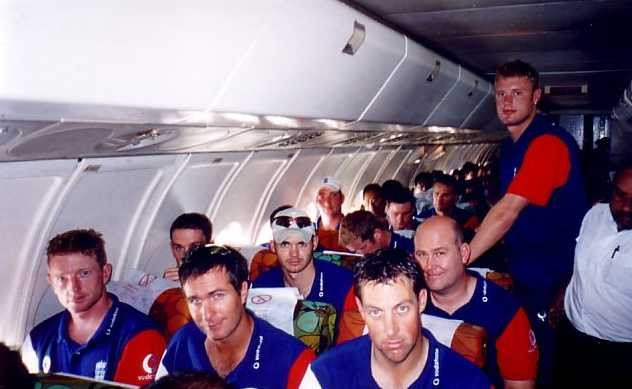 The England Cricket Team on the plane from Dhaka to Chittagong for the One Day International Series in November 2003