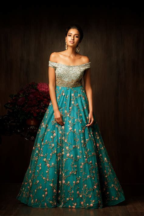 A truly magnificent pagoda blue gown, with an off shoulder