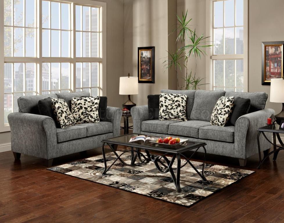 Grey Fabric Modern Sofa & Loveseat Set w/Options