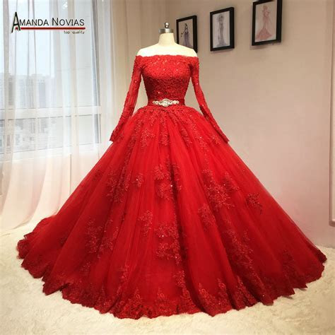 2016 Newest Red Wedding Dress Puffy Ball Gown Long Sleeves