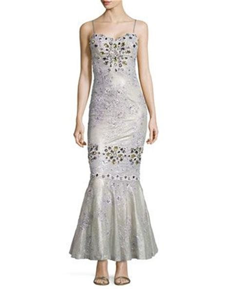 Embellished Shimmer Lace Mermaid Gown, Silver by Mandalay