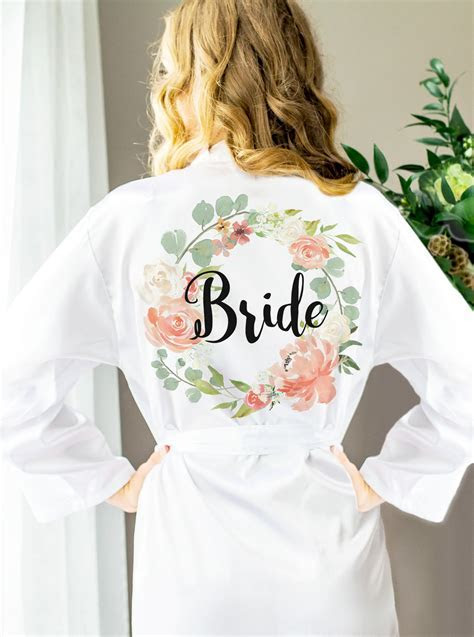 Wedding Robes for Bride & Bridesmaids, Floral Personalized