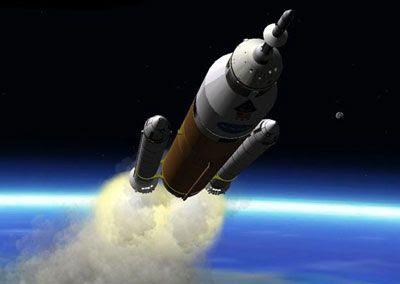 An artist concept of a 'Jupiter DIRECT' launch vehicle.