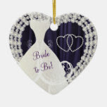 Bride to Be White Diamonds Plum Purple Wedding Double-Sided Heart Ceramic Christmas Ornament